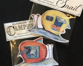 Camper Snail vinyl sticker- original Rosie Ferne illustration cute snail garden nature laptop macbook sticker