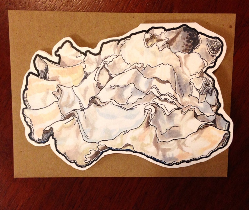 Oyster shaped card for graduation The World Is Your Oyster card or other occasions congratulations