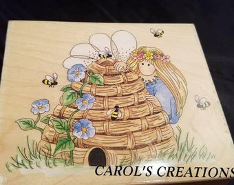 Angel Stamp / Angel and Beehive Stamp / Large Angel Stamp / Wood Block Stamp / Large Wood Block Stamp / Craft Supplies