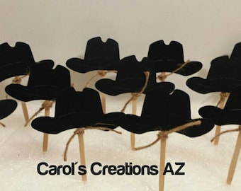 12 Black Hat Cupcake Toppers / Black Hat Party Picks / Western Cupcake Toppers / Cowboy Cupcake Toppers / Cowgirl Cupcake Toppers/ ANY COLOR