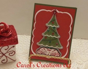 CLEARANCE SALE Handcrafted Christmas Card / Christmas Tree Card / Holiday Tree Card / Handmade Christmas Card