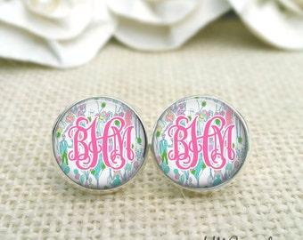 Personalized Monogram Earrings, Lilly Pulitzer Inspired Monogram Earrings, Monogram Earrings, Silver Monogram Stud Earrings, Pop Print