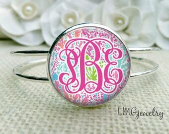 Monogram Cuff Bracelet, Let's Cha Cha, Lilly Pulitzer Inspired Bracelet, Lilly Monogram, Silver Cuff Bracelet, Pink Monogram Bracelet
