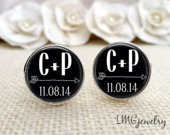 Groom Cufflink, Custom Wedding Cufflink, Bride and Groom Initials, Gift for Groom, Wedding Cufflinks