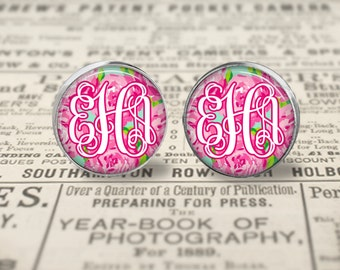 Personalized Lilly Pulitzer Inspired Monogram Earrings, First Impression Monogram Earrings, Silver Monogram Earrings, Monogram Stud Earrings