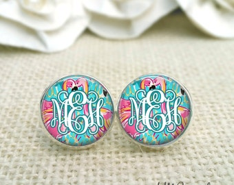 Personalized Lilly Pulitzer Inspired Monogram Earrings, Monogram Earrings, Silver Monogram Earrings, Lilly Peel and Eat