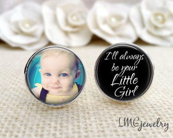Father of the Bride Photo Cufflinks, Father of the Bride Cufflinks, Stainless Steel Cufflinks, I'll Always be Your Little Girl