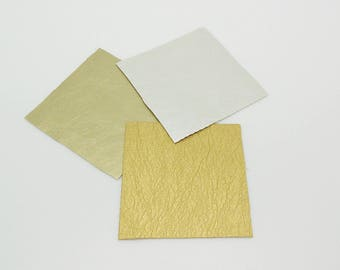 3 coupons leatherette, 3 colors silver, gold, bronze 5 x 5 cm