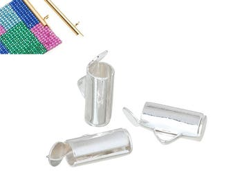 2 silver end caps for seed beads woven jewelry