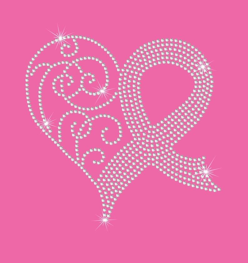 a740ce3c96 Breast Cancer Awareness Pink Ribbon Heart Rhinestone Bling Iron on Heat  Tshirt Transfer