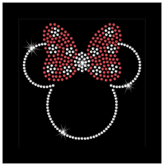 "/""Minnie Mouse/"" CUTE Bling Iron-on Rhinestone Transfer Decal"