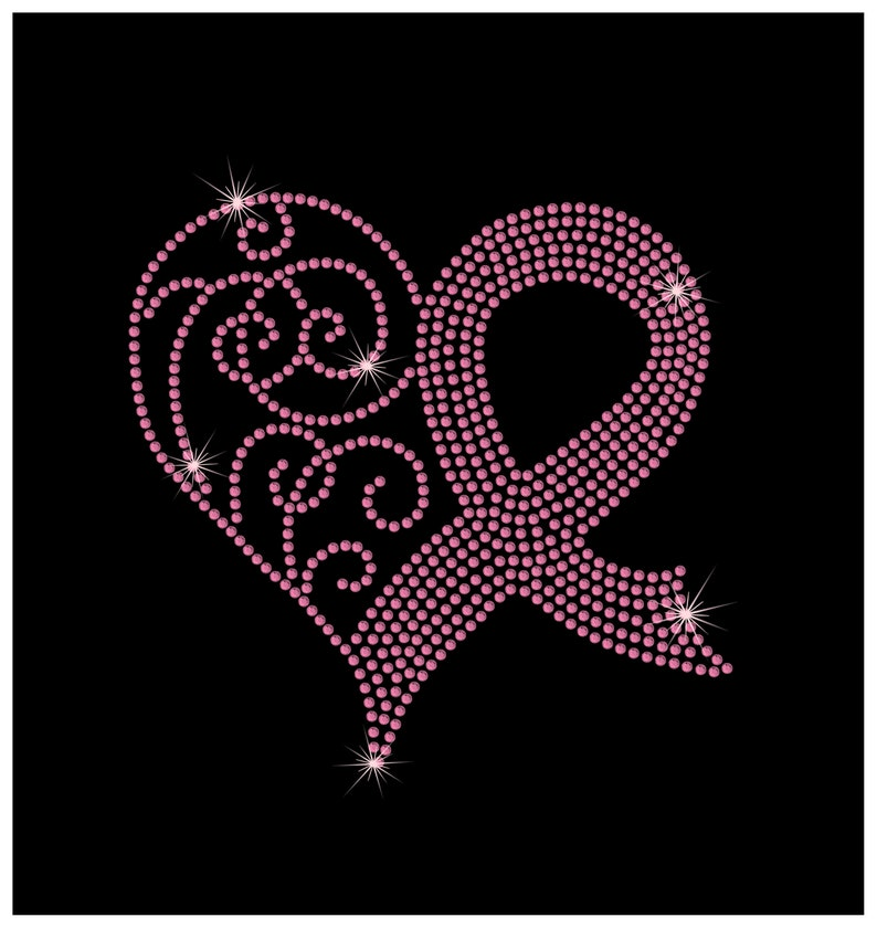84110807e4 Breast Cancer Awareness Pink Ribbon Heart Rhinestone Bling Iron on Heat  Tshirt Transfer