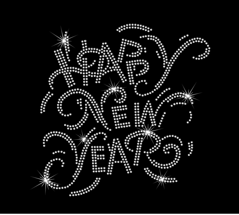 Happy New Year New Years Eve Iron on HotFix Rhinestone Bling   Etsy
