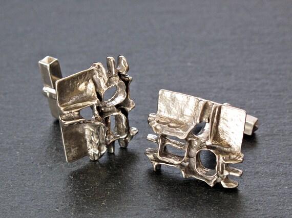 RELO Silver Brutalist Cufflinks - Brutalist 935 Si