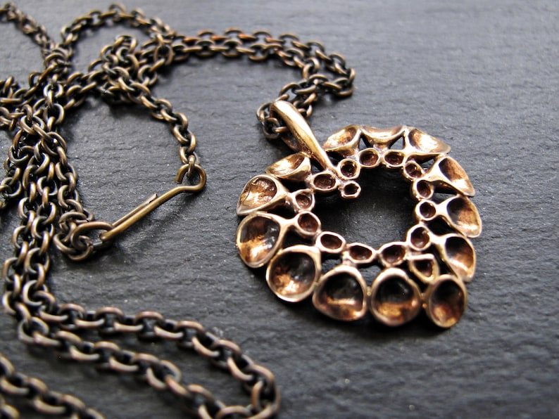 HANNU IKONEN Reindeer Moss Heart Shaped Pendant with Chain \u2013 Bronze Renmoosbl\u00fcte Heart Pendant \u2013 Finnish Finland