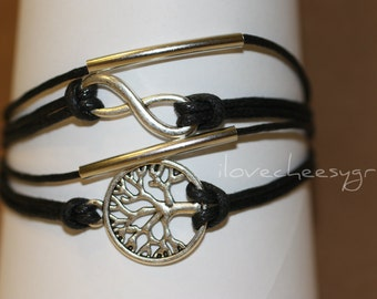 SIMPLICITY~ Friendship Charm Multilayer Wedding Simplicity Tree of Life Infinity Wrap Bracelet Birthday Black Leather ilovecheesygrits