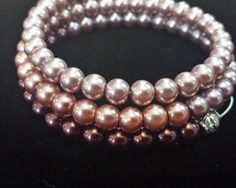 Beaded Bangle Wrap Bracelet Gradient  With Charm From Lilac to Violet