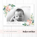 Printable - The 'Lily' Classic Photo Birth Announcement | Baby Thank You Card | Newborn | Floral | Flowers | Girl | Botanical | Watercolor