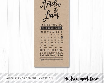 Printable - The 'Amelia' Bold Kraft Engagement Invitation | Calendar | Save the Date | Rehearsal Dinner