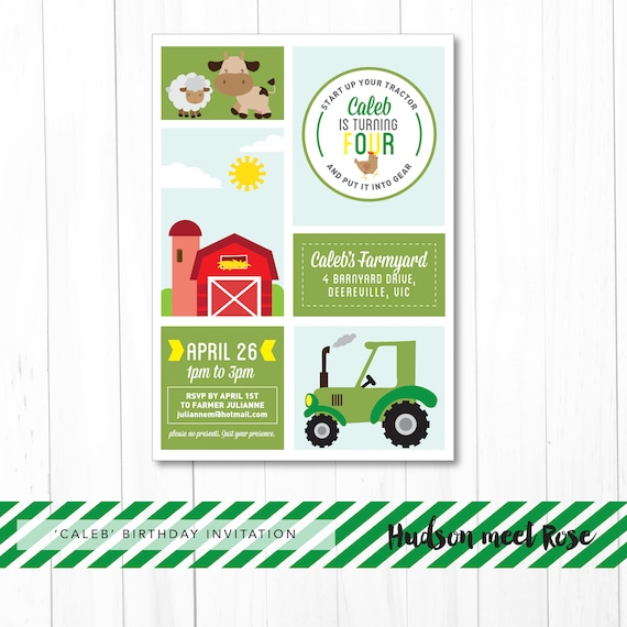 photograph about John Deere Printable named Printable - The Caleb Farmyard Birthday Invitation Kid