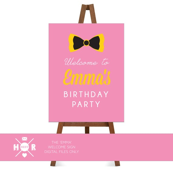 Printable The Emma Wiggle Birthday Welcome Sign Bow The