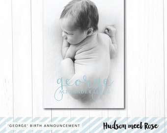 Printable - The 'George' Classic Birth Announcement | Baby Thank You Card