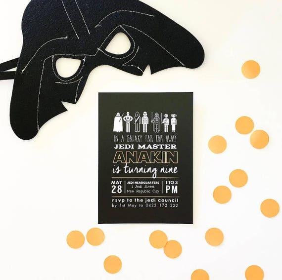 image relating to Darth Vader Printable named Printable - The Anakin aka Darth Vader Birthday Invitation