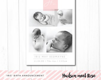 Printable - The 'Iris' Classic Birth Announcement | Baby Thank You Card | Photo