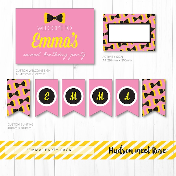 Printable The Emma Wiggles Birthday Party Pack Bow Decorations