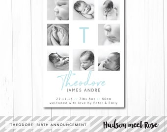 Printable - The 'Theodore' Classic Birth Announcement | Baby Thank You Card | Photo