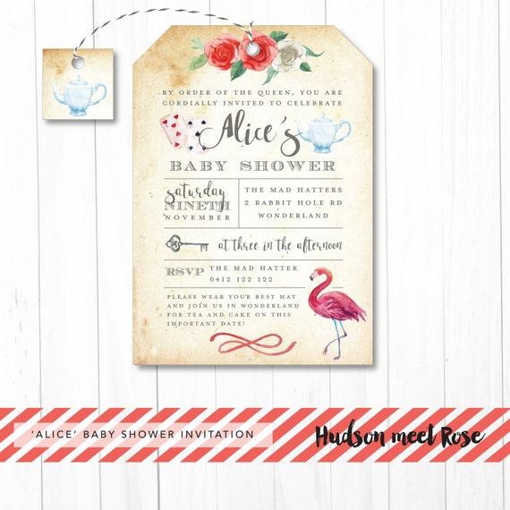 Printable The Alice In Wonderland Baby Shower Invitation