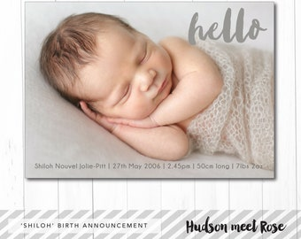 Printable - The 'Shiloh' Classic Birth Announcement | Baby Thank You Card | Photo