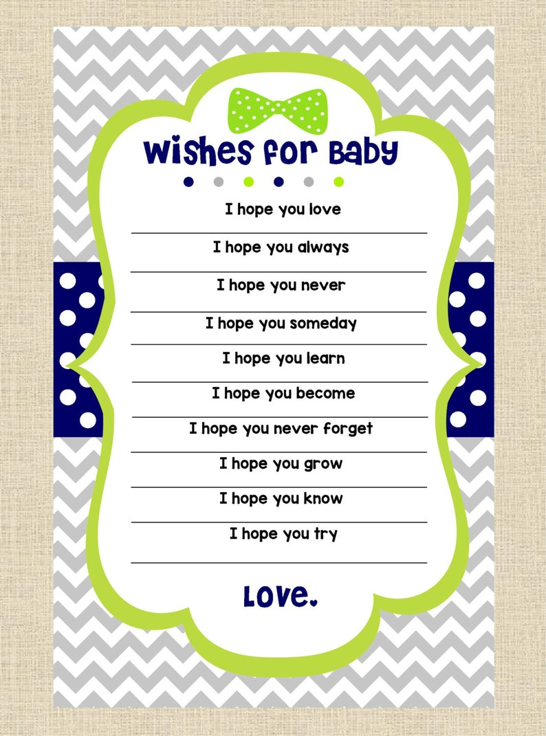 INSTANT DOWNLOAD...Wishes for Baby Printable Baby Shower Game image 0