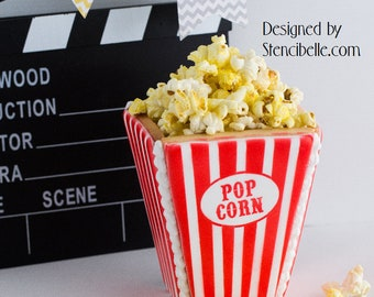 3D Popcorn Box Cookie Cutter - 2pc set