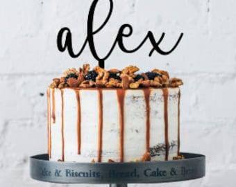 Name Cake Topper - 6in Wide Custom cake topper- Acrylic Cake topper