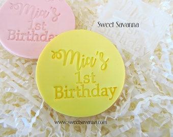 Custom Birthday Embosser- Fondant embosser- Great for first birthdays
