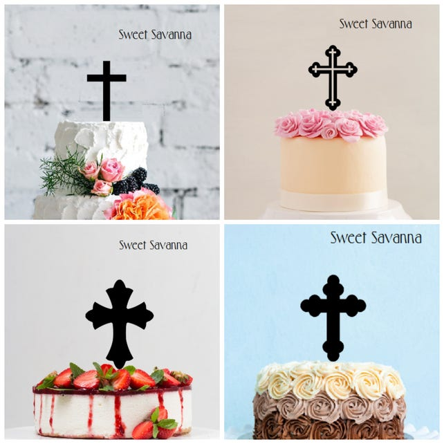 """Cross Cake Topper  5"""" high - Made in Australia - Lots of different styles"""