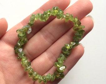 Peridot green gemstone chip bracelet