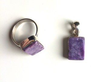Charoite pendant or ring sterling silver with gift bag