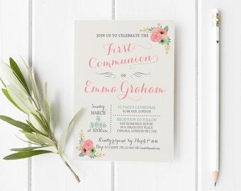 First Communion Girl Invitation printable, Invitation First Communion floral printable, First Holy Communion party invitation, Communion