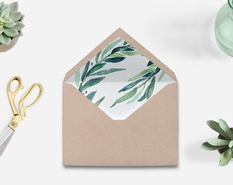 Envelope liner printable, watercolor envelope liner, eucalyptus envelope liner printable, green leaves envelope liner, The Jakie collection