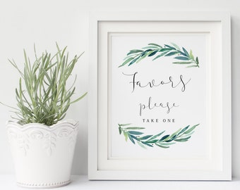 Printable wedding favors sign, Wedding favor sign, Nature Leaves eucalyptus favors sign printable, Instant download, The Jackie collection