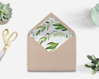 Envelope liner printable, watercolor envelope liner,garden green leaves envelope liner printable, leaves envelope liner, The Amy collection