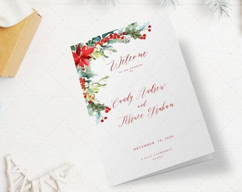 christmas program template folded holiday wedding program printable order of ceremony template christmas half fold program template fl16