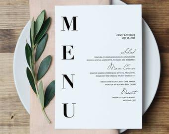 Wedding Menu Template Modern Cards Minimal Printable Simple Party ZL16