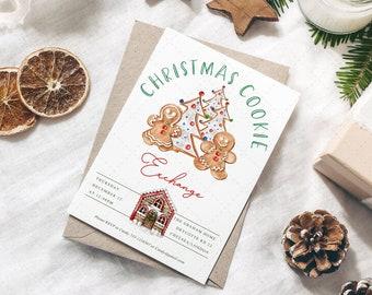 Christmas Cookie Exchange Invitation, Editable Christmas Party template, Gingerbread Christmas Invitation, Cookie Exchange, Instant Download