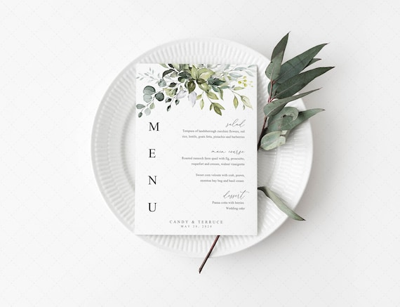Wedding Menu Template Greenery Menu Cards Template Eucalyptus Menu Template Wedding Menu Printable Dinner Menu Printable Party Menu G19