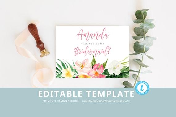 Will you be my bridesmaid template Bridesmaid Proposal Card   Etsy