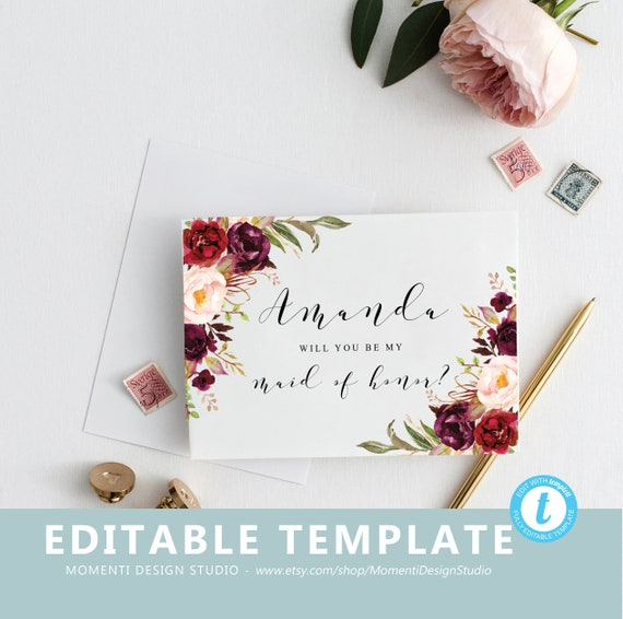 Will you be my bridesmaid template Bridesmaid Proposal Card | Etsy