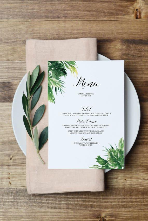 Printable Wedding Menu Template Tropical Menu Cards Template Etsy